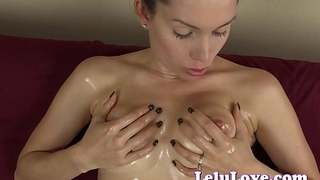 Sliding YOUR cock between my oiled up big boobs for a titjob cumshot