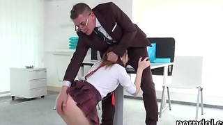 Kissable schoolgirl is seduced and poked by elder cicerone