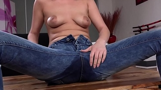 Peeing The brush Pants - Hot blonde gets wet during pussy play