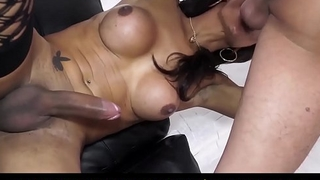 TRANS BELLA - Gorgeous trannies enjoy two hard cocks in uninhibited hardcore foursome