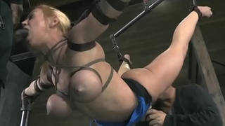 Cute blonde tied in the air and humiliated!!! -Punishland.com