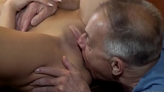 DADDY4K. Old man with boner penetrates attractive girl bring to perfection table