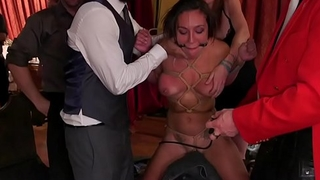 At bdsm party babes suffering rough sex