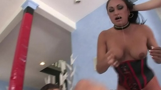 Busty sluts Aiden Starr and Claudia Valentine deep blowjob