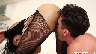 Vulgar tranny deepthroats and rides large pecker of her paramour