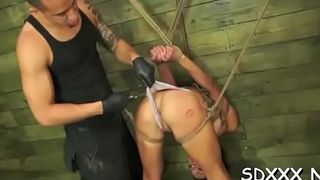Restrained bitch gets huiliated as she is compulsory to deepthroat