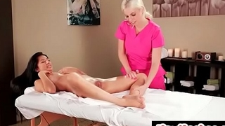 Lesbian adventure at massage salon - Britney Amber &amp_ Megan Salinas