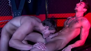 Bonded hunk cocksucked and submitted to anal