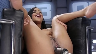 Tiny super hot ebony fucks machine