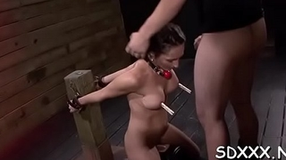 Roped chick relishes being forcefully permeated by ally
