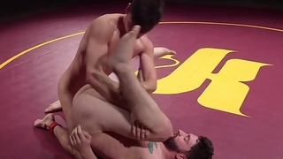 Wrestling hunk facializing stud after anal