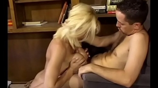 Sexy blonde with big jugs Rebecca Wild seduces guy to fuck say no to in his office