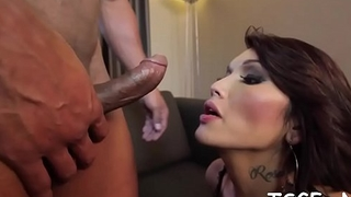 Crazy shelady gives a throat job and then gets ass pounded
