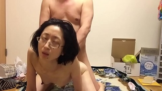 Mature wife Miyuki pants at the woman on top posture