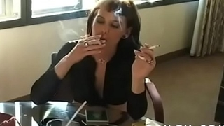 Doyenne doxy farm-toun a cigarette and playing with herself