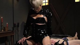 Experienced blonde Milf mistress dominates guy