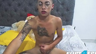Dominick Wild - Flirt4Free - Sexy Latino Twink Cums and Plays with His Ass